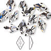Flat back, Swarovski crystal rhinestone, crystal clear, foil back, 13x8mm faceted rhombus (2709). Sold per pkg of 144 (1 gross).