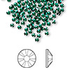 Flat back, Swarovski crystal rhinestone, emerald, foil back, 2.5-2.7mm Xilion rose (2058), SS9. Sold per pkg of 144 (1 gross).