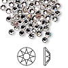 Flat back, Swarovski hotfix crystal rhinestone, Crystal Passions®, crystal clear, foil back, 3.8-4mm Xilion rose (2038), SS16. Sold per pkg of 12.