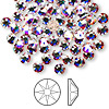 Flat back, Swarovski hotfix crystal rhinestone, Crystal Passions®, crystal AB, foil back, 4.6-4.8mm Xilion rose (2038), SS20. Sold per pkg of 144 (1 gross).