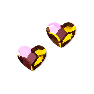 Flat back, Swarovski® crystal hotfix rhinestone, crystal astral pink, foil back, 14x12mm faceted heart (2808). Sold per pkg of 2.
