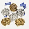 "Focal, Blue Moon Beads®, antiqued silver- and gold-finished ""pewter"" (zinc-based alloy), 45mm assorted round. Sold per pkg of (6) 2-piece sets."