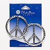 "Focal, Blue Moon Beads®, antiqued silver-finished ""pewter"" (zinc-based alloy), 49mm hammered peace sign. Sold per pkg of 2."