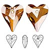 Focal, Swarovski crystal, Crystal Passions®, crystal copper, 37x30mm faceted wild heart pendant (6240). Sold individually.