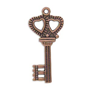 "Focal, antique copper-plated ""pewter"" (zinc-based alloy), 34x17mm double-sided key with double heart design. Sold per pkg of 10."