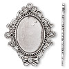 "Focal, antiqued silver-finished ""pewter"" (zinc-based alloy), 56x46mm single-sided oval with (3) PP8 chaton and (1) 31x23mm cabochon setting. Sold per pkg of 500."
