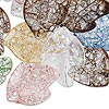 Focal mix, ice flake acrylic, multicolored, 36x27mm leaf. Sold per 100-gram pkg, approximately 20 beads.