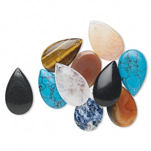 Focal mix, mixed gemstones (natural / dyed / heated / imitation), multicolored, 29x17mm-30x13mm teardrop. Sold per pkg of 10.