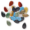 Focal mix, multi-stone (natural / dyed), 29x18mm teardrop. Sold per pkg of 25.