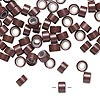 Hair crimp, aluminum and silicone, brown, 5mm round tube with 3mm hole. Sold per pkg of 100.