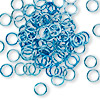 Jumpring, aluminum, light blue, 6mm smooth round, 18 gauge. Sold per pkg of 100.
