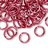 Jumpring, aluminum, red, 10mm smooth round, 14 gauge. Sold per pkg of 100.
