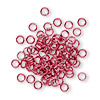 Jumpring, aluminum, red, 4mm smooth round, 20 gauge. Sold per pkg of 100.