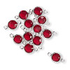 Link, Swarovski crystal and silver-plated brass, Siam, 6.14-6.32mm faceted round, SS29. Sold per pkg of 48.