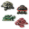 Magnet mix, polymer clay, assorted colors, 46x33mm mama and baby turtle. Sold per pkg of 4.