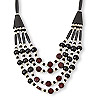 Necklace, 4-strand, bone (bleached / dyed) / glass / silver-finished steel, black / white / red, 4mm-32x7mm multi-shape, 20 inches with lobster claw clasp and 2-inch extender chain. Sold individually.