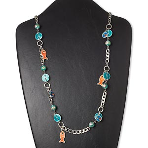 "Necklace, enamel / glass rhinestone / silver-coated plastic / antiqued silver-finished brass / ""pewter"" (zinc-based alloy) / steel, multicolored, fish, 31 inches with 3-inch extender chain and lobster claw clasp. Sold individually."