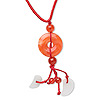 Necklace, glass and jadeite, orange and orange-red, 25mm round donut focal and beads, 18-24 inch red nylon cord. Sold individually.