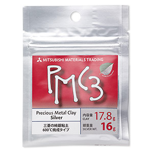 PMC3™ Precious Metal Clay, silver. Sold per 16-gram pkg.