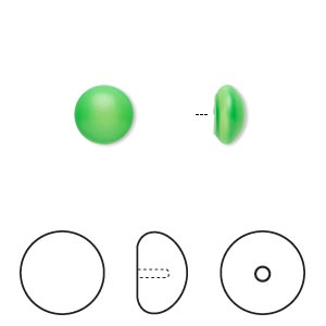 Pearl, Swarovski® crystal cabochon, neon green, 8mm half-drilled round (5817). Sold per pkg of 2.