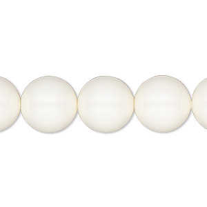 Pearl, Swarovski® crystal gemcolors, ivory, 12mm round with 1.3-1.5mm hole (5811). Sold per pkg of 100.