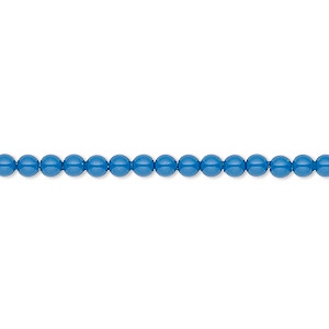 Pearl, Swarovski® crystal gemcolors, lapis, 3mm round (5810). Sold per pkg of 1,000.
