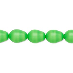 Pearl, Swarovski® crystals, neon green, 11x8mm pear (5821). Sold per pkg of 10.