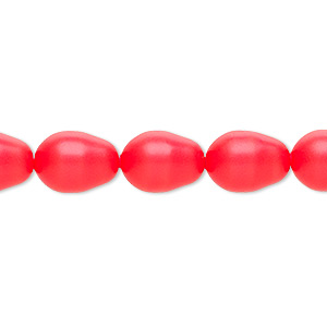 Pearl, Swarovski® crystals, neon red, 11x8mm pear (5821). Sold per pkg of 10.