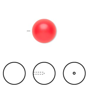 Pearl, Swarovski® crystals, neon red, 12mm half-drilled round (5818). Sold per pkg of 2.