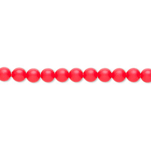 Pearl, Swarovski® crystals, neon red, 4mm round (5810). Sold per pkg of 100.