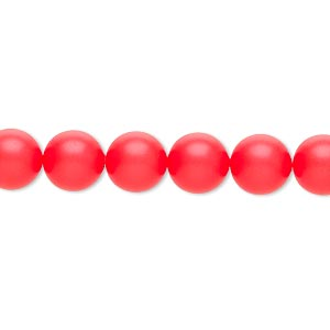 Pearl, Swarovski® crystals, neon red, 8mm round (5810). Sold per pkg of 50.