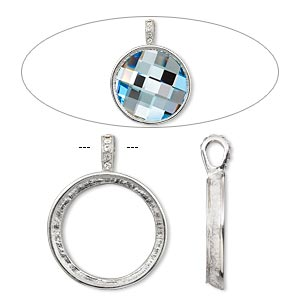 "Pendant, Almost Instant Jewelry®, Swarovski® crystals and imitation rhodium-plated ""pewter"" (zinc-based alloy), crystal clear, 44x34mm single-sided smooth round with 30mm round setting. Sold individually."