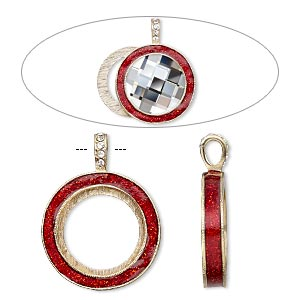 "Pendant, Almost Instant Jewelry®, epoxy / Swarovski® crystals / gold-finished ""pewter"" (zinc-based alloy), light Siam red and crystal clear with glitter, 45x35mm single-sided with 30mm round setting. Sold individually."