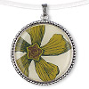 "Pendant, Blue Moon Beads®, acrylic and antiqued silver-finished ""pewter"" (zinc-based alloy), green and clear, 39mm flat round with flower design. Sold individually."