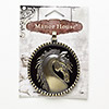 "Pendant, Blue Moon Beads®, enamel and antiqued brass-finished ""pewter"" (zinc-based alloy), black, 54mm brushed flat round with horse design and beaded edge. Sold individually."