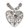 "Pendant and bead, antiqued silver-finished ""pewter"" (zinc-based alloy), 10x8mm fancy puffed rectangle with flower design and 46x43mm heart. Sold per 5-piece set."
