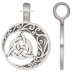 Pendant, antiqued pewter (tin-based alloy), 41x29.5mm single-sided half moon with Celtic knot. Sold individually.
