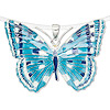 Pendant, enamel and sterling silver, blue / turquoise blue / white, 45x31mm butterfly. Sold individually.