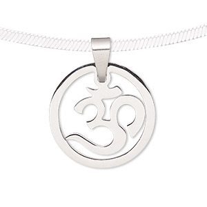 Pendant, stainless steel, 19mm matte and shiny round with Om symbol. Sold individually.