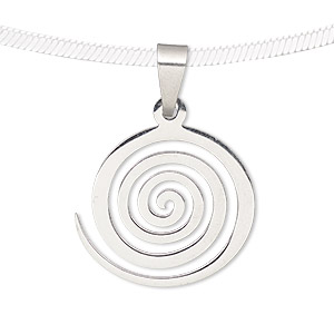 Pendant, stainless steel, 20x18mm matte and shiny swirl. Sold individually.