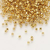 Seed bead, Delica®, glass, 24Kt gold-lined crystal, (DB33CUT), #11 cut. Sold per pkg of 250 grams.