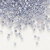 Seed bead, Delica®, glass, ceylon color-lined silver grey, (DB242), #11 round. Sold per 50-gram pkg.