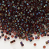 Seed bead, Delica®, glass, color-lined chocolate cherry, (DB297), #11 round. Sold per 50-gram pkg.