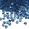 Seed bead, Delica®, glass, color-lined electric blue, (DB920CUT), #11 cut. Sold per 50-gram pkg.