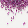 Seed bead, Delica®, glass, color-lined fuchsia, (DB281), #11 round. Sold per 7.5-gram pkg.
