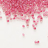 Seed bead, Delica®, glass, color-lined pink lipstick, (DB914), #11 round. Sold per 50-gram pkg.