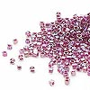 Seed bead, Delica®, glass, color-lined rainbow magenta, (DB56CUT), #11 cut. Sold per 50-gram pkg.