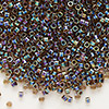Seed bead, Delica®, glass, color-lined rainbow root beer, (DB87), #11 round. Sold per 7.5-gram pkg.