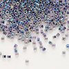 Seed bead, Delica®, glass, color-lined rainbow violet, (DB59), #11 round. Sold per 50-gram pkg.