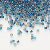 Seed bead, Delica®, glass, color-lined steel blue, (DB921), #11 round. Sold per 50-gram pkg.